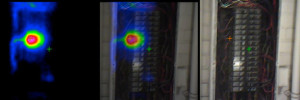 Infrared image of an electrical panel with a breaker overheating.