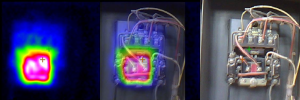 This is an infrared image of an ammonia pump contactor overheating.  After we performed the inspection, we recommended the customer replace the contactor. The customer did not follow recommendations resulting in the failure of the contactor just one week later.